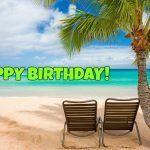 Feliz cumpleaños con motivo de playa